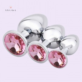 Anal Butt Plug 3 Pcs Luxury Stainless Steel Jewelry Design