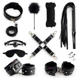 BDSM Bondage Set India 10 Pcs Furry Leather Bondage Restraints Kits Sex Toys for Couples