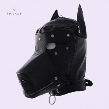 BDSM Hood Dog Mask Head Harness Sex Slave Collar Leash Mouth Gag Blindfold