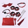 BDSM Toys India Bondage Kit Premium Leather 8 Pcs Red