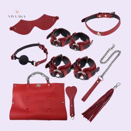 BDSM Toys India Bondage Kit Premium Leather 8 Pcs Red