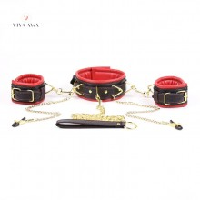 Bondage Collar Leash Wrist Cuffs Nipple Clamps Restraints BDSM Set India