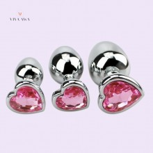 Butt Plug Jeweled Heart Metal Beginner Set India Anal Play