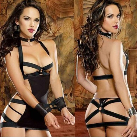 Leather Babydoll Bra Set Bodysuits Indian Sexy Lingerie