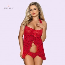 Red Heart Pattern Lace Cup Halter Babydoll Dress Online Lingerie Shopping India