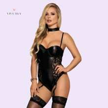 Teddy India Lingerie Leather Bodysuit Garter Leotard Nightwear