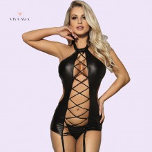 Women Leather Lingerie Bodysuit With Garter Jumpsuit Tops
