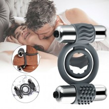 Double Bullet Penis Ring Vibrating Cock Ring Delay Ejaculation Adult Game Toy