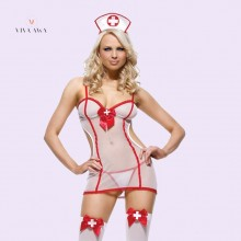 Nurse Role Play Costume Sexy Lingerie Free Size See-Throughs