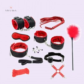 Nylon Red 8-Pieces Bondage Bdsm Sex Toys For Adults