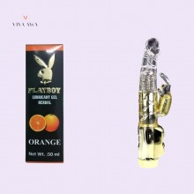 Playboy Orange Lube And Golden Rabbit Toy