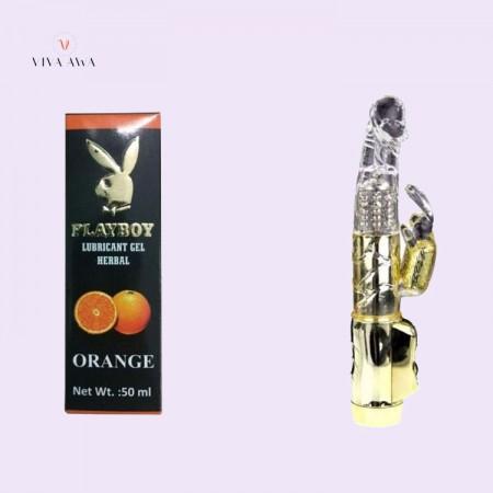 Playboy Orange Lube And Golden Rabbit Toy